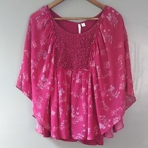LC Lauren Conrad Butterfly Sleeve Lined Top